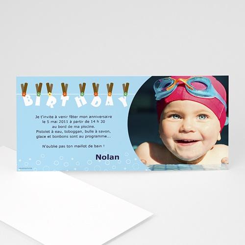 carte invitation anniversaire garcon piscine