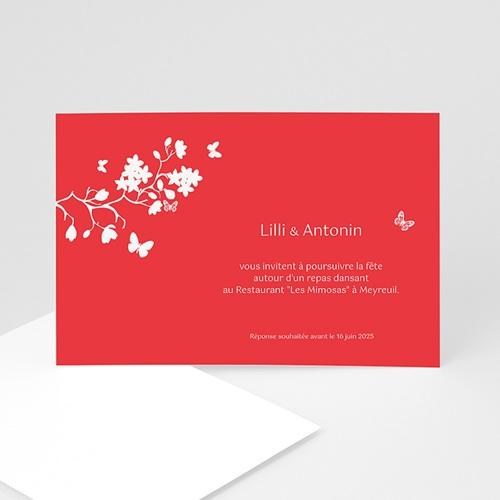 carton invitation personnalise fleurs d amour rouge