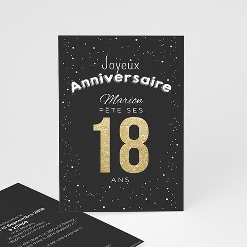carte invitation anniversaire adulte 18 dore