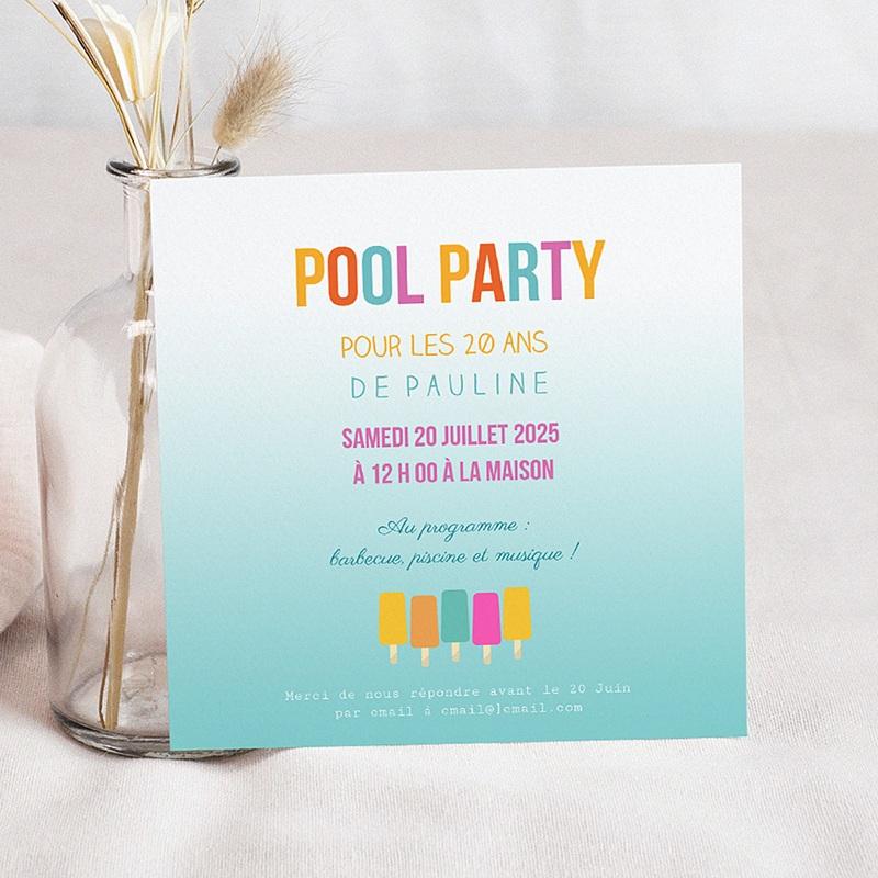 carte invitation anniversaire adulte pool party