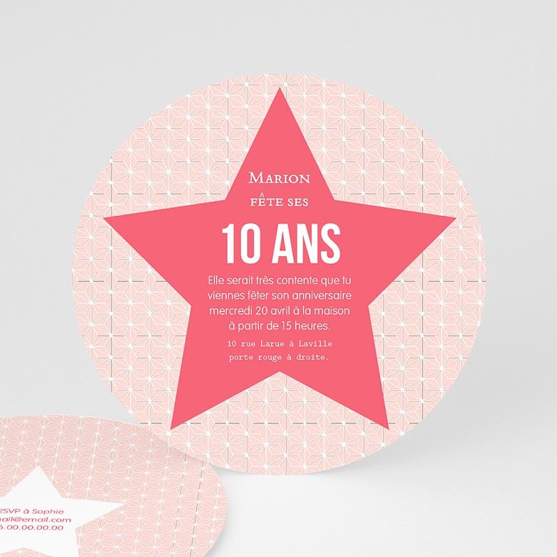 carte invitation anniversaire fille etoile rose