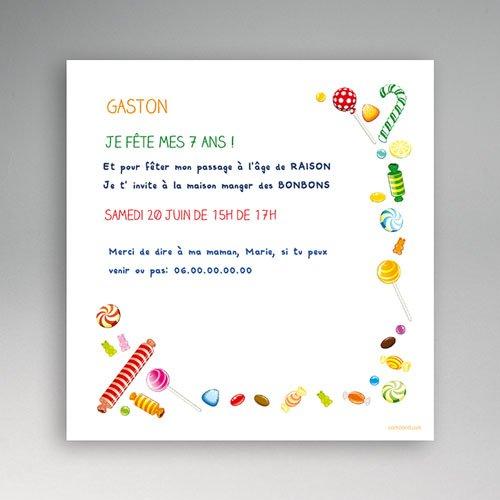 carte invitation anniversaire garcon bonbon