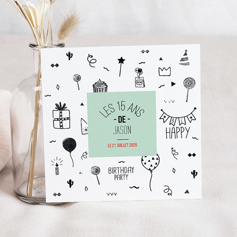 carte invitation anniversaire enfant adolescent