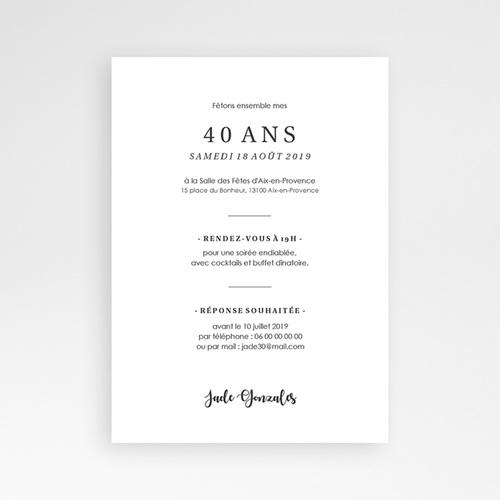 carte invitation anniversaire 40 ans fetons 40 ans
