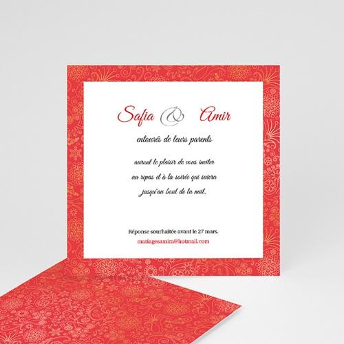 carton invitation personnalise moyen oriental rouge