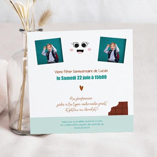 carte invitation anniversaire enfant chocolat show carre