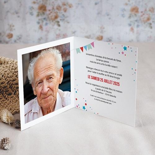 carte invitation anniversaire adulte cirque 90 ans vernis double volets