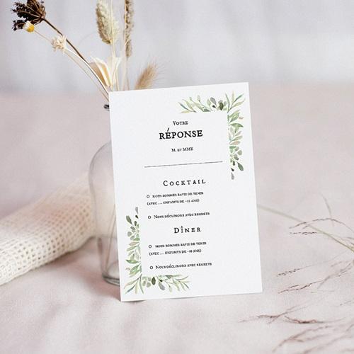 carton reponse mariage rsvp vin d honneur diner cadre feuillage