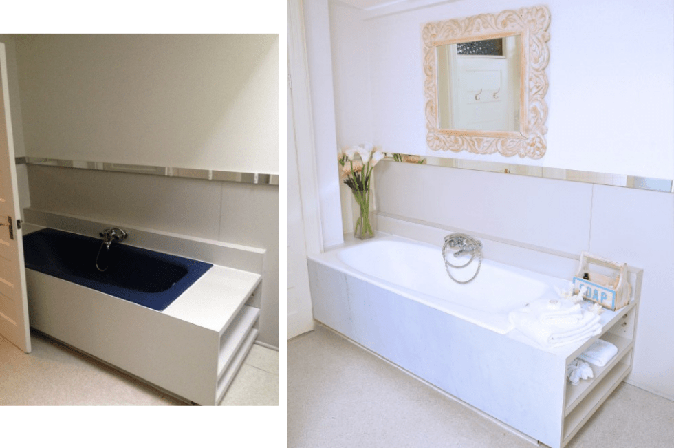 Before and after updating the bathroom design by Jaclyn Genovese of Spaces by Jacflash