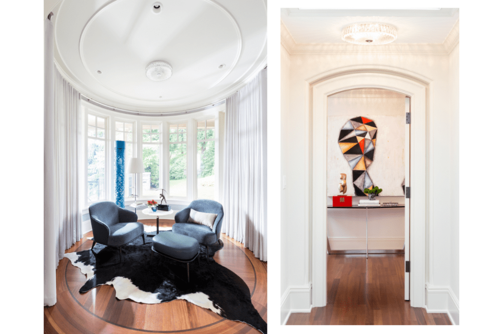 Two furniture vignettes designed by Harmony Sense Interiors' Lucila Diaz