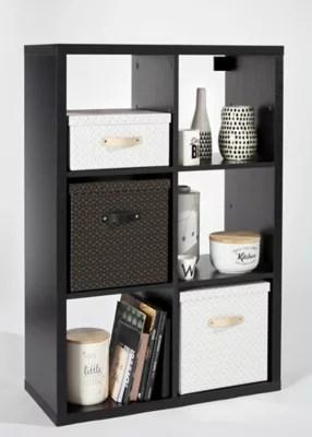 etagere modulable 6 cubes coloris noir mat