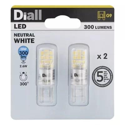 2 Ampoules Led Diall Capsule G9 2 6w 28w Blanc Neutre Castorama