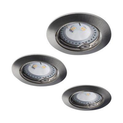 3 spots a encastrer led diall ip23 rond acier brosse
