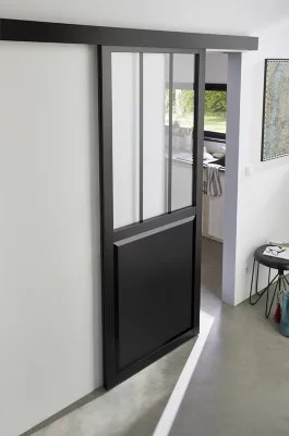 Porte coulissante Atelier noire 83cm  systme en applique  Castorama