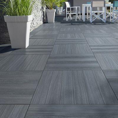 Carrelage terrasse gris anthracite 50 x 50 cm Caillebotis vendu au carton  Castorama