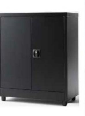 armoire basse en metal 2 tablettes l 80 x h 90 x p 40 cm
