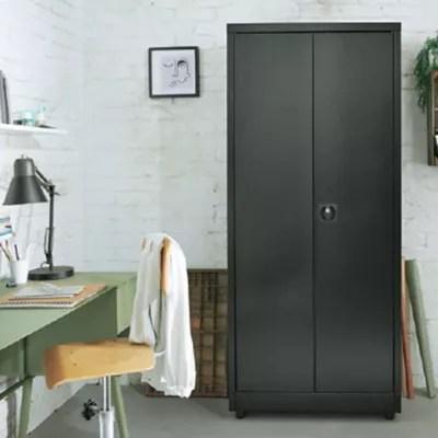 armoire haute en metal 40 x 80 x 180 cm noir