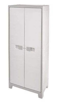 armoire haute universelle blanc 4 tablettes rangement balais major l 80 x h 182 x p 44 cm