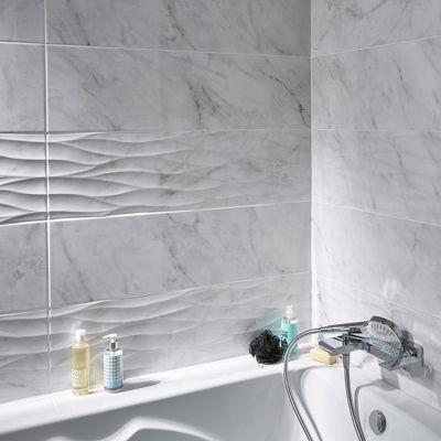 carrelage mur blanc brillant effet pierre 25 x 90 cm basento vendu au carton