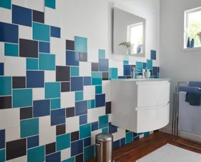 carrelage mur bleu lagon 10 x 10 cm glossy