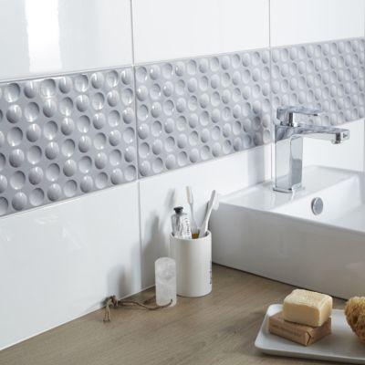 carrelage mur decor 3d gris 20 x 40 cm bubble vendu au carton