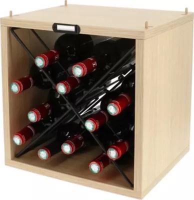 casier 12 bouteilles cube en bois