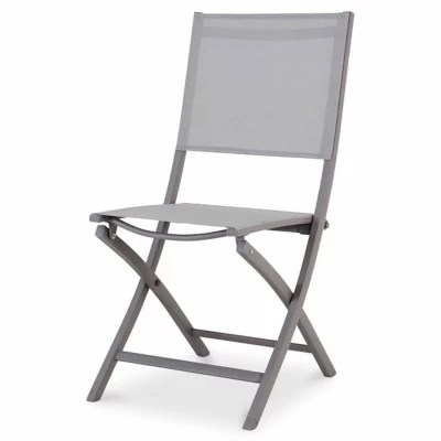 chaise de jardin en aluminium batang anthracite pliante