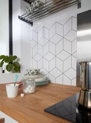 credence de cuisine goodhome nepeta geometrique blanc l 180 cm x h 60 cm x ep 3 mm