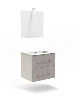 ensemble de salle de bains cooke lewis volga 60 cm taupe meuble plan vasque miroir
