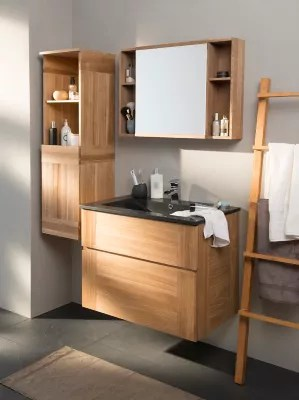 ensemble de salle de bains essential 80 cm noir