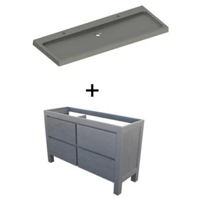 ensemble de salle de bains harmon 140 cm meuble sous vasque noir plan vasque resine