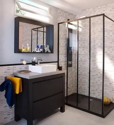 ensemble de salle de bains harmon 90 cm meuble sous vasque noir plan beton