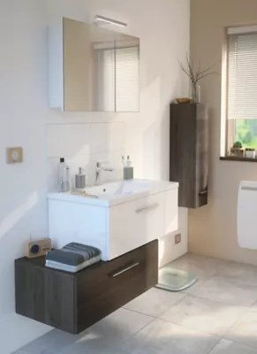 ensemble de salle de bains nida sous vasque blanc caisson bas bois plan vasque