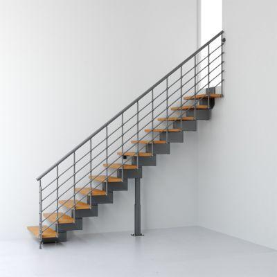 escalier droit metal et bois magia 90xtra l 90 cm 12 marches gris fonte clair