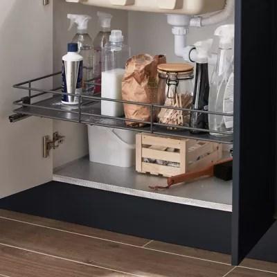 etagere coulissante pour meuble sous evier goodhome pebre 80 cm