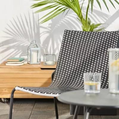 fauteuil bas de jardin goodhome morillo acier noir et blanc motifs quadrilles
