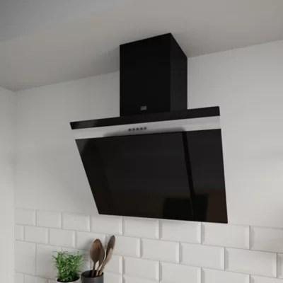 hotte inclinee noire en verre cooke and lewis 60 cm