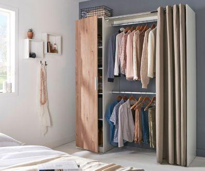 kit dressing avec porte et rideau scandi effet chene clair h 200 x l 170 x p 49 cm