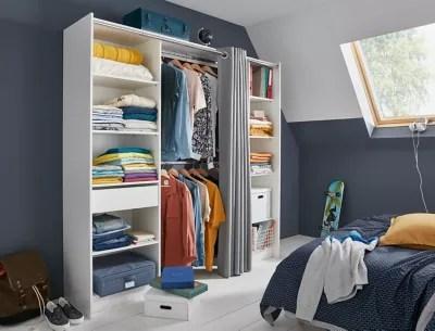 kit dressing avec rideau eklips ii coloris blanc grise l 200 x p 48 x h 200 cm