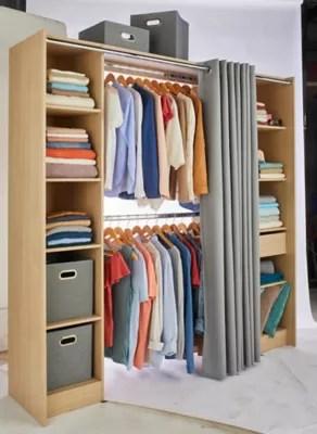 kit dressing avec rideau eklips ii effet chene l 200 x p 48 x h 200 cm