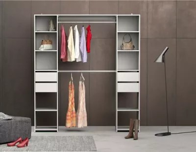 kit dressing blanc 2 colonnes 4 tiroirs h 200 x l 180 cm