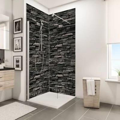 lot de 2 panneaux muraux salle de bains 100 x 210 cm schulte decodesign decor parement ardoise