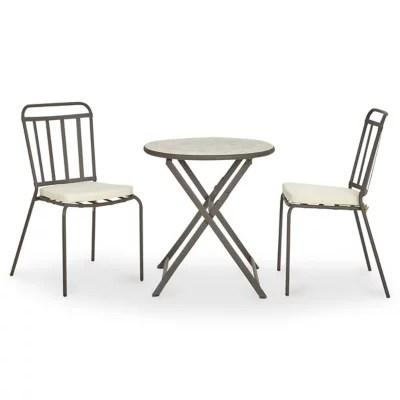 lot table de jardin metal et marbre ronde sofia 2 chaises de jardin sofia 2 galettes de chaise sofia