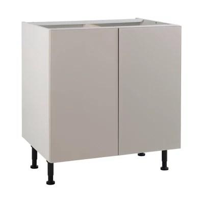meuble de cuisine artic seigle mat facades 2 portes caisson bas l 80 cm