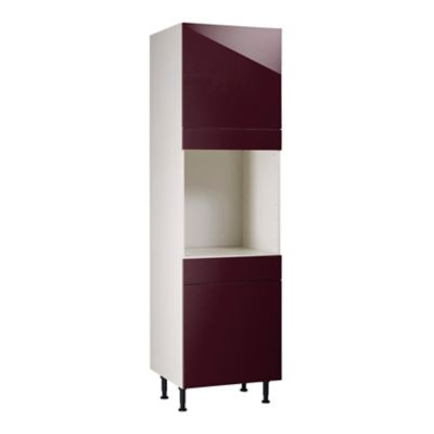 meuble de cuisine gossip aubergine facades 2 porte 1 tiroir bandeau four caisson colonne l 60 cm