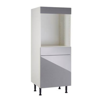 meuble de cuisine gossip gris facade 1 porte 1 tiroir bandeau four caisson 1 2 colonne l 60 cm