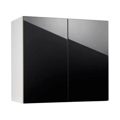 meuble de cuisine gossip noir facade 2 portes caisson haut l 80 cm