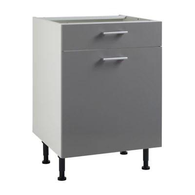 meuble de cuisine spicy gris facade 1 porte 1 tiroir caisson bas l 60 cm