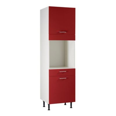 meuble de cuisine spicy rouge facades 2 porte 1 tiroir bandeau four caisson colonne l 60 cm