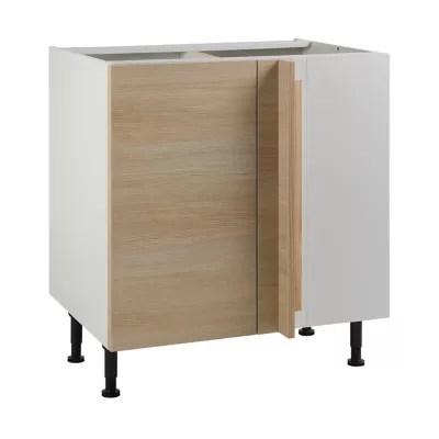 meuble de cuisine unik chene naturel d angle facade 1 porte 1 tiroir kit fileur caisson bas l 80 cm